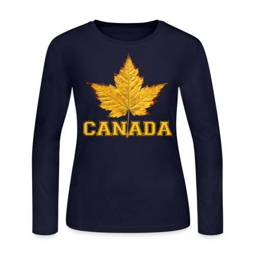Women's Canada Shirt Varsity Canada Souvenir Long Sleeve Shirts - Women's Long Sleeve Jersey T-Shirt