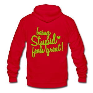 Being Stupid - Unisex Fleece Zip Hoodie by American Apparel