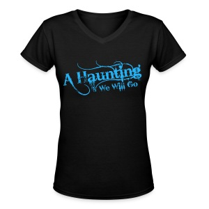 AHWWG Blue Logo Front  - Women's V-Neck T-Shirt