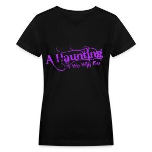 AHWWG Purple Logo Front  - Women's V-Neck T-Shirt