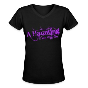 AHWWG Purple Logo Front  - Women's V-Neck T-Shirt