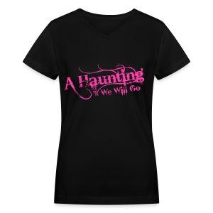 AHWWG Pink Logo Front  - Women's V-Neck T-Shirt
