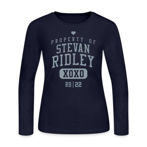 PROPERTY OF Stevan Ridley (RB #22) XOXO *Metallic Silver - Women's Long Sleeve Jersey T-Shirt