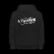 Sweatshirts ~ Kids' Hooded Sweatshirt ~ AHWWG White Logo Kids Front Design