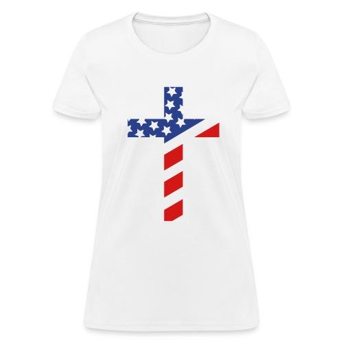 American Flag Cross Women's  - Women's T-Shirt