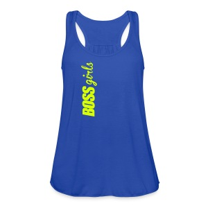 BOSS GIRLS II - Women's Flowy Tank (Neon Yellow Print) - Women's Flowy Tank Top by Bella