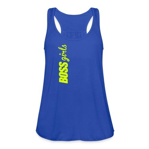 BOSS GIRLS II - Women's Flowy Tank (Neon Yellow Print) - Women's Flowy Tank Top by Bella