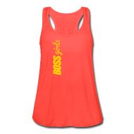 Tanks ~ Women's Flowy Tank Top by Bella ~ BOSS GIRLS II - Women's Flowy Tank (Orange Print)
