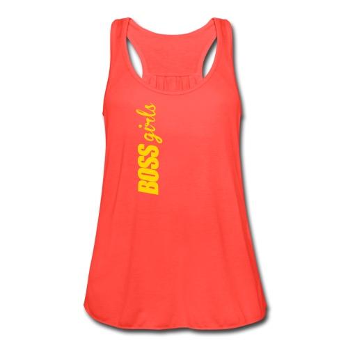 BOSS GIRLS II - Women's Flowy Tank (Orange Print) - Women's Flowy Tank Top by Bella