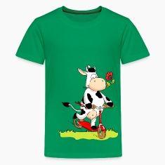 Cow on Kick Scooter Kids' Shirts