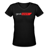 T-Shirts ~ Women's V-Neck T-Shirt ~ Ladies V-Neck T-Shirt  // GeekTyrant RED Logo