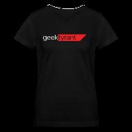Women's T-Shirts ~ Women's V-Neck T-Shirt ~ Ladies V-Neck T-Shirt  // GeekTyrant RED Logo