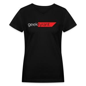 Ladies V-Neck T-Shirt  // GeekTyrant RED Logo - Women's V-Neck T-Shirt
