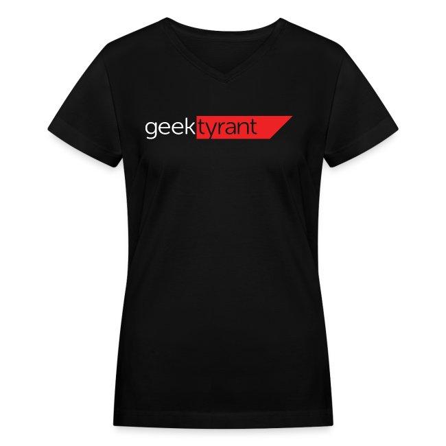 Ladies V-Neck T-Shirt  // GeekTyrant RED Logo