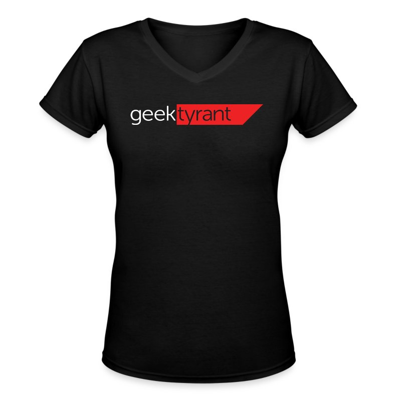 Ladies V-Neck T-Shirt  // GeekTyrant RED Logo - Women's V-Neck T-Shirt