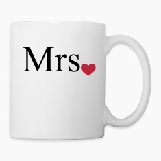 Mrs with heart dot (Mr and Mrs set) Bottles & Mugs