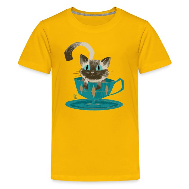 Cat in a Teacup Kids Tee