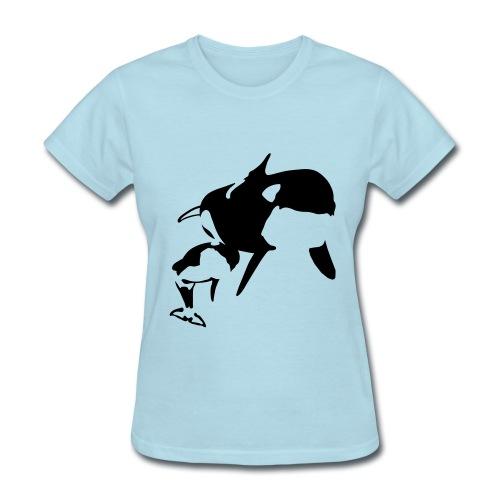 Orca Mother And Calf Design Women's T-Shirt - Women's T-Shirt