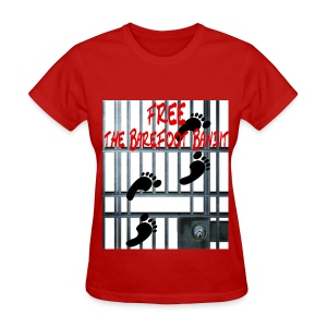 Free The Barefoot Bandit Short Sleeve T-shirt Red - Women's T-Shirt