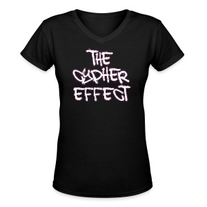 Women's V-Neck T-Shirt - * The Cypher Effect Logo ( White Font with Black / Pink Outline )