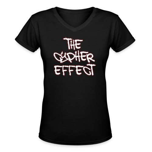 Black TCE Logo V Neck (RED) - Women's V-Neck T-Shirt
