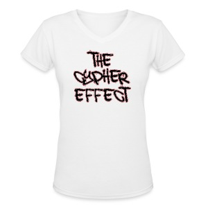Women's V-Neck T-Shirt - * The Cypher Effect Logo ( Black Font with White / Red Outline )