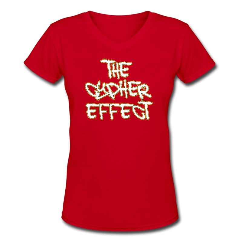 Red TCE Logo V Neck (YELLOW) - Women's V-Neck T-Shirt