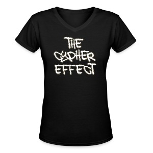 Women's V-Neck T-Shirt - * The Cypher Effect Logo ( White Font with Black / Yellow Outline )