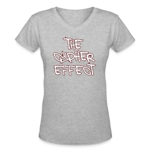 Women's V-Neck T-Shirt - * The Cypher Effect Logo ( White Font with Black / Red Outline )
