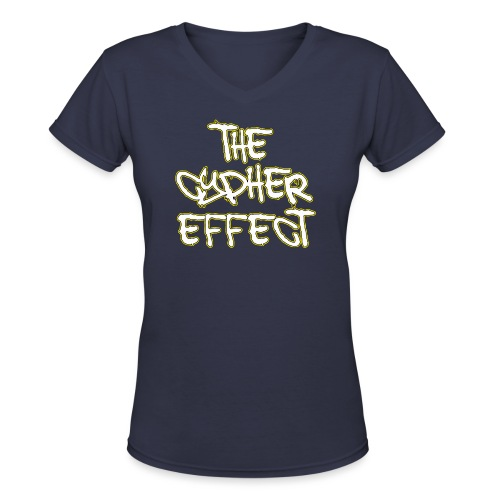 Navy Blue TCE Logo V Neck (YELLOW) - Women's V-Neck T-Shirt