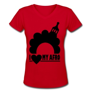 Women's V-Neck T-Shirt - afro,coily,curly,kinky,love,nappy,natural hair,natural hair t-shirts,pick,t-shirts,womens t-shirts