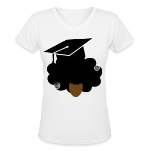 Women's V-Neck T-Shirt - womens t-shirts,t-shirt,natural hair,nappy,kinky,graduation,curly,coily,class of 2014,Natural hair t- shirt,2014