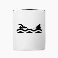 swimmer with shark Bottles & Mugs