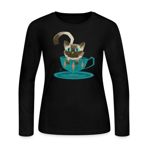 Cat in a Teacup Long Sleeve Shirt - Women's Long Sleeve Jersey T-Shirt
