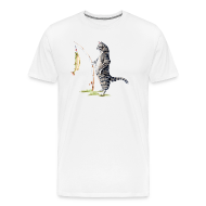 T-Shirts ~ Men's Premium T-Shirt ~ Cat with Fish Fitted Tee