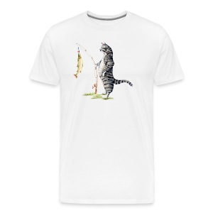 Cat with Fish Fitted Tee - Men's Premium T-Shirt