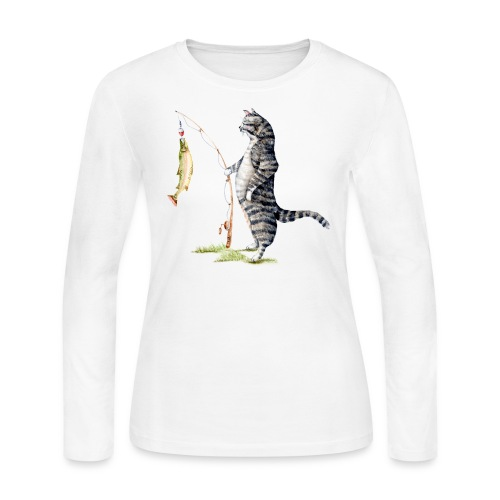 Cat with Fish Long Sleeve Shirt - Women's Long Sleeve Jersey T-Shirt