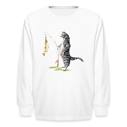 Cat with Fish Kids Long Sleeve Shirt - Kids' Long Sleeve T-Shirt