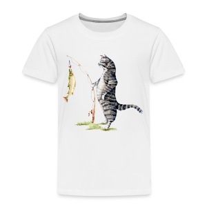 Cat with Fish Toddler Tee - Toddler Premium T-Shirt