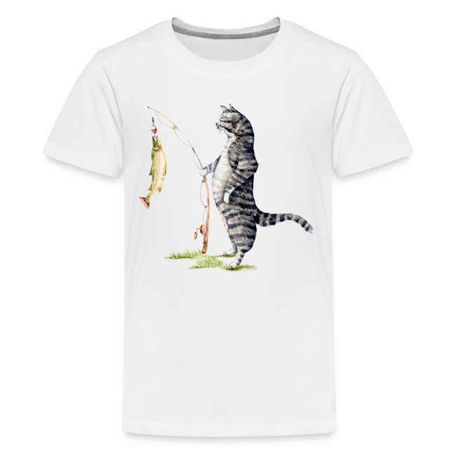 Cat with Fish Kids Tee