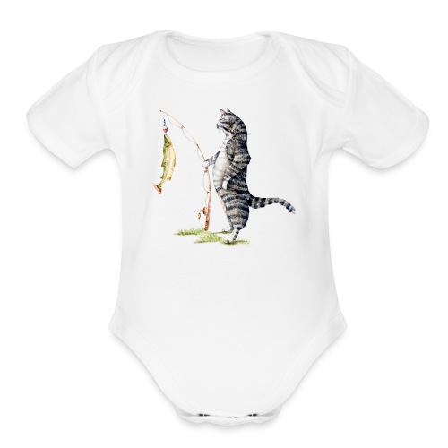 Cat with Fish Onesie - Organic Short Sleeve Baby Bodysuit