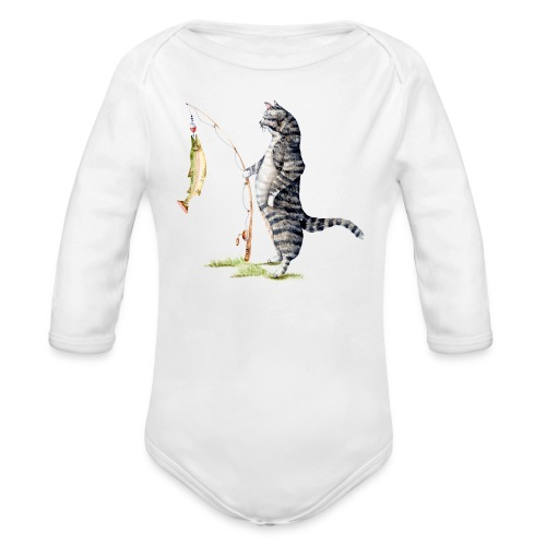 Cat with Fish Long Sleeve Onesie - Organic Long Sleeve Baby Bodysuit