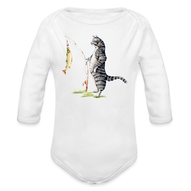 Cat with Fish Long Sleeve Onesie