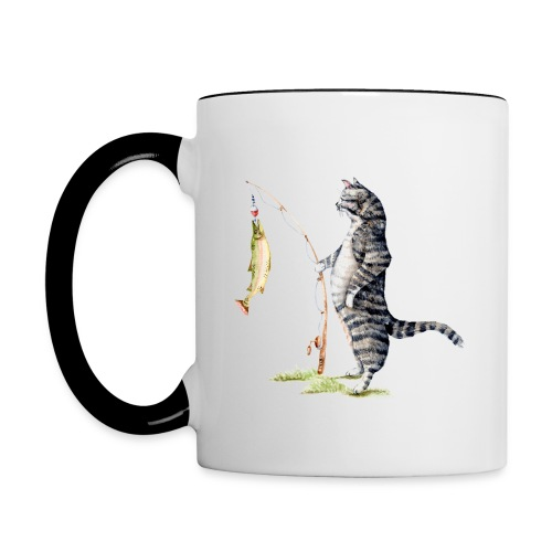 Cat with Fish Mug - Contrast Coffee Mug