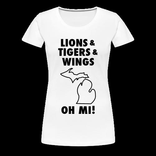 Lions & Tigers & Wings Oh MI! black - Women's Premium T-Shirt