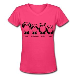 Pandas for women - Women's V-Neck T-Shirt