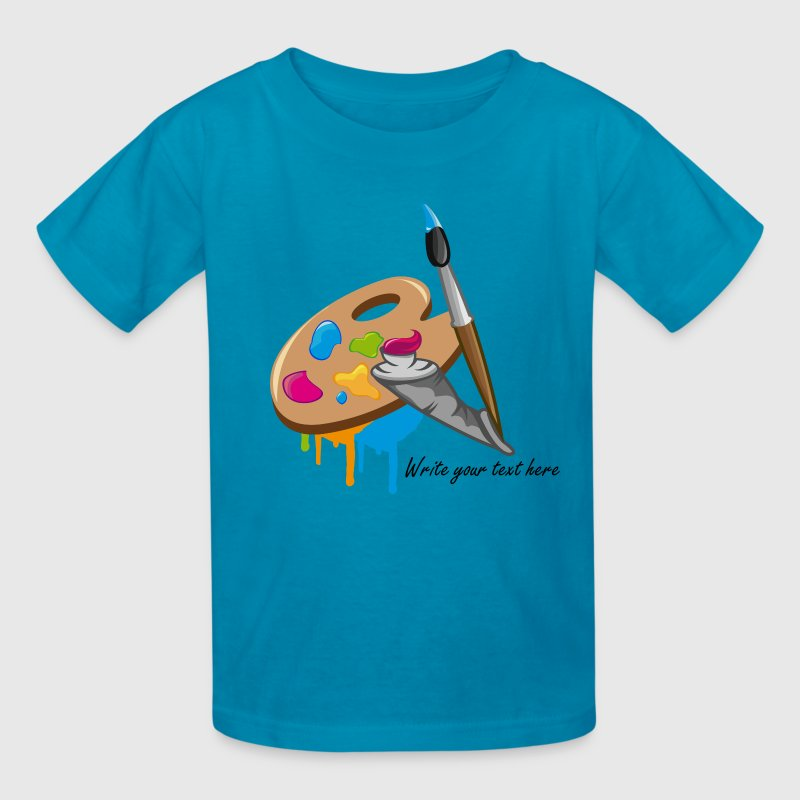 a Paint brush, colors and a painter's palette Kids' Shirts - Kids' T-Shirt