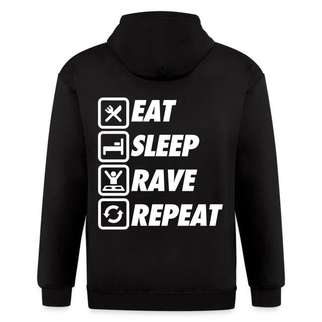 Eat Sleep Rave Repeat Zip Hoodies & Jackets | Men's Zip Hoodie