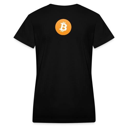 Bitcoin logo on black - Women's V-Neck T-Shirt