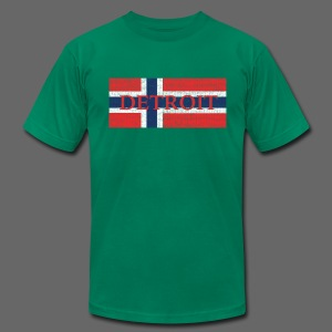 Detroit Norway Flag - Men's T-Shirt by American Apparel